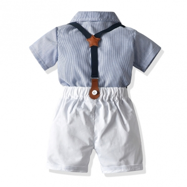 Lovely Trendy Striped Baby Blue Boy Two-piece Shorts Set