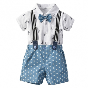 Lovely Trendy Print Blue Boy Two-piece Shorts Set