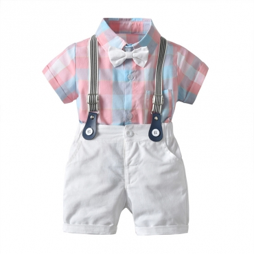 Lovely Trendy Grid Print Red Boy Two-piece Shorts Set