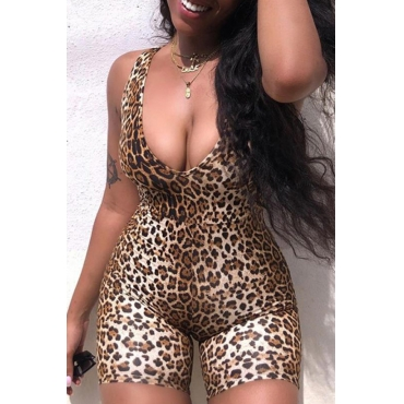 Lovely Trendy Leopard Print One-piece Romper