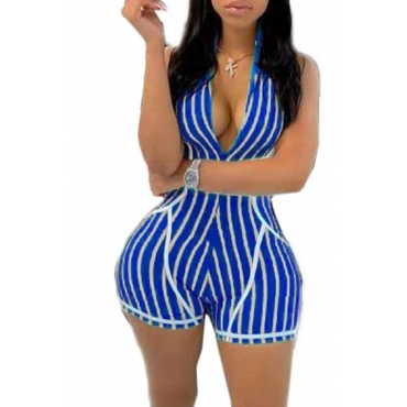 Lovely Leisure Striped Blue One-piece Romper