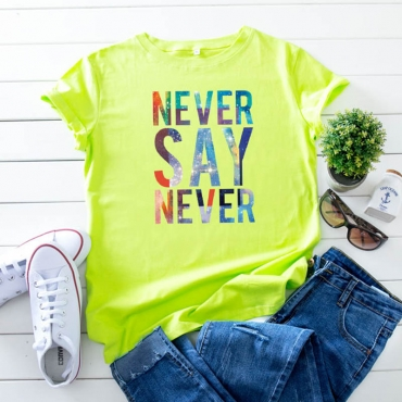 Lovely Leisure O Neck Letter Print Green Plus Size T-shirt