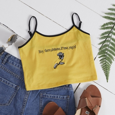 Lovely Casual Embroidered Yellow Camisole