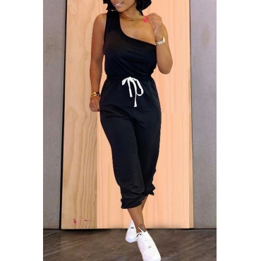 Lovely Casual One Shoulder Lace-up Black Two-piece Pants Set