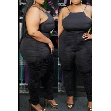 Lovely Sexy Fold Design Black Plus Size Two-piece Pants Set