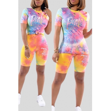 Lovely Casual Tie-dye Multicolor Two-piece Shorts Set