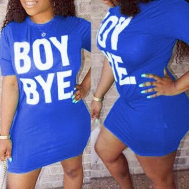 Lovely Leisure Letter Print Blue Mini T-shirt Dres