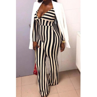 Lovely Leisure Striped Blue One-piece Jumpsuit