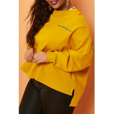 Lovely Leisure Letter Print Yellow Plus Size Hoodie
