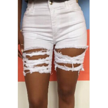 Lovely Leisure Hollow-out White Shorts