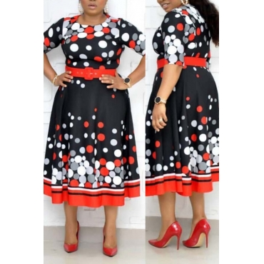 Lovely Casual Print Red Mid Calf Plus Size Dress