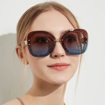 Lovely Trendy Big Frame Design Blue Sunglasses