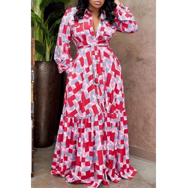 Lovely Trendy Print Red Maxi Dress