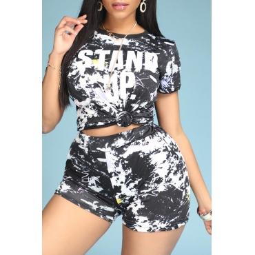 Lovely Sportswear Print Black Two Piece Shorts Set