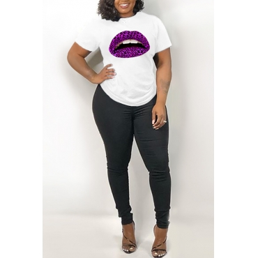 Lovely Leisure Lip Print White T-shirt