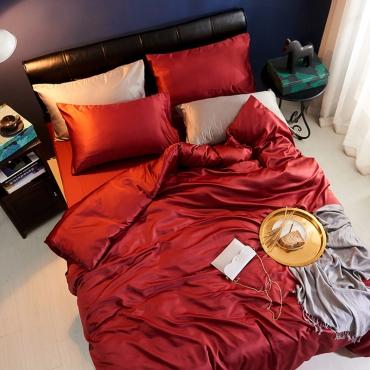 Lovely Leisure Basic Wine Red Bedding Set