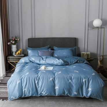 Lovely Trendy Print Baby Blue Bedding Set