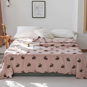 Lovely Cosy Rabbit Print Dusty Pink Blanket