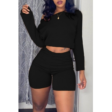 Lovely Casual Long Sleeves Black Two-piece Shorts Set