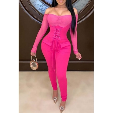 Lovely Sexy Bandage Design Rose Red One-piece Jumpsuit