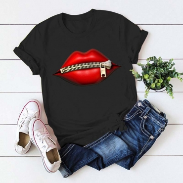Lovely Casual Lip Print Black Plus Size T-shirt
