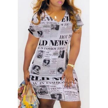 Lovely Casual V Neck Print White Knee Length Dress