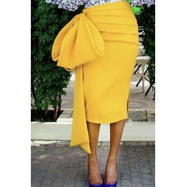 Lovely Sweet Fold Design Yellow Skirt
