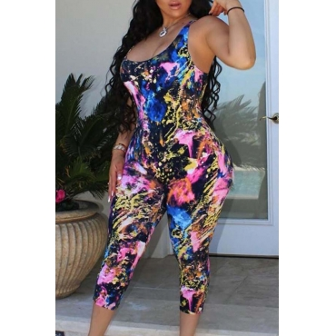 Lovely Leisure Print Blue One-piece Jumpsuit