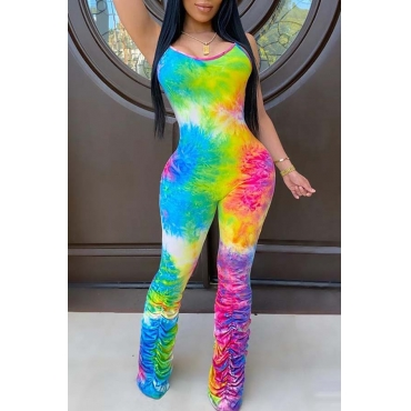 Lovely Trendy Tie-dye Multicolor One-piece Jumpsuit