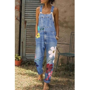 Lovely Leisure Print Baby Blue Plus Size One-piece Jumpsuit