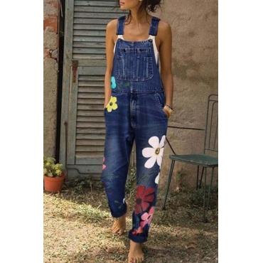 Lovely Leisure Print Deep Blue Plus Size One-piece Jumpsuit