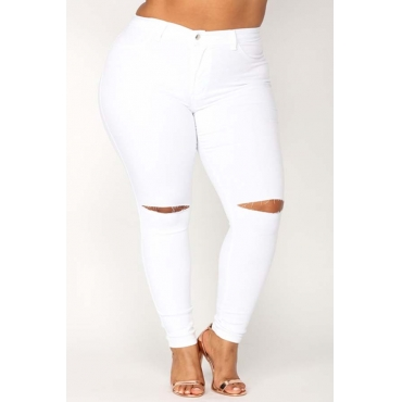 Lovely Casual Hollow-out White Plus Size Jeans