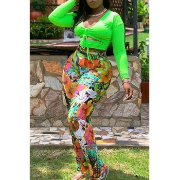 Lovely Trendy Print Green Plus Size Two-piece Pants Set