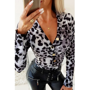 Lovely Leisure Print Grey Bodysuit