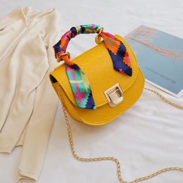 Lovely Chic Chain Strap Yellow Crossbody Bag