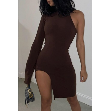 Lovely Secxy One Shoulder Wine Red Knee Length Dress