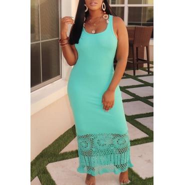 Lovely Trendy Patchwork Green Ankle Length Dress