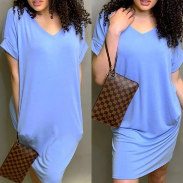 Lovely Leisure V Neck Basic Baby Blue Knee Length Dress