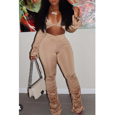 Lovely Sexy Fold Design Khaki Two-piece Pants Set