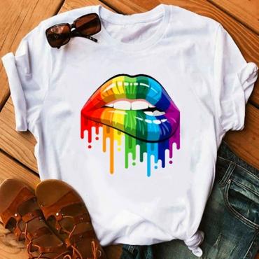 Lovely Leisure O Neck Lip Print White Plus Size T-shirt