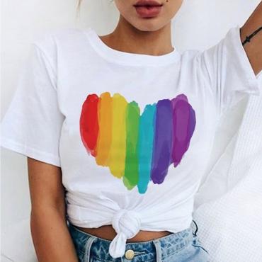 Lovely Casual O Neck Heart White T-shirt