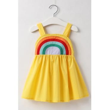 Lovely Sweet Rainbow Striped Yellow Girl Knee Length Dress