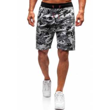 Lovely Sportswear Print Light Grey Shorts