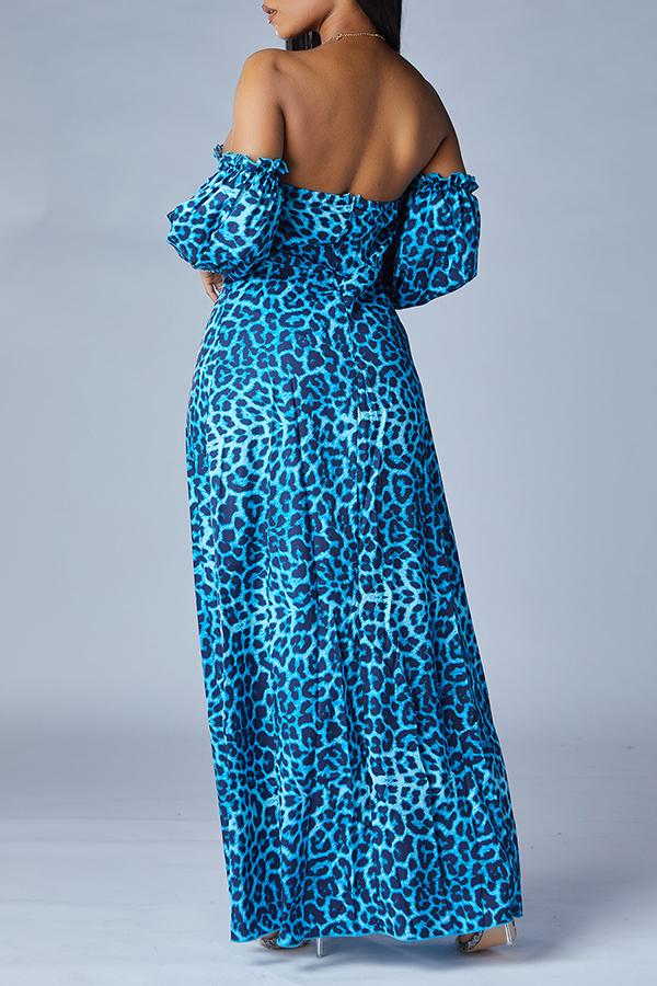 Lovely Trendy Dew Shoulder Print Blue Maxi Dress