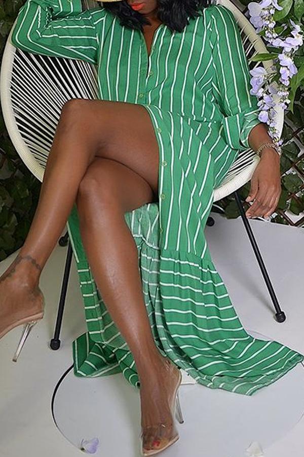 Lovely Trendy Striped Green Ankle Length Dress