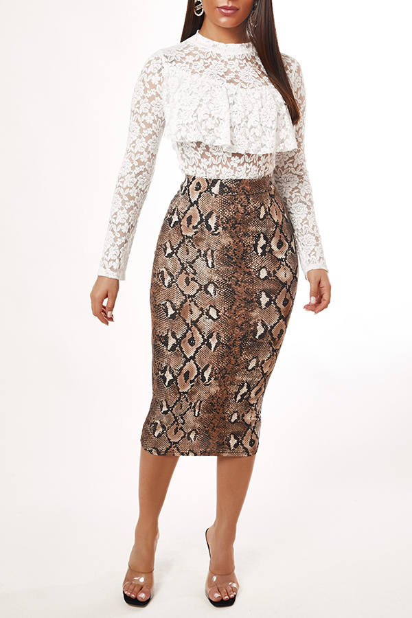 Lovely Casual Snakeskin Print Skirt