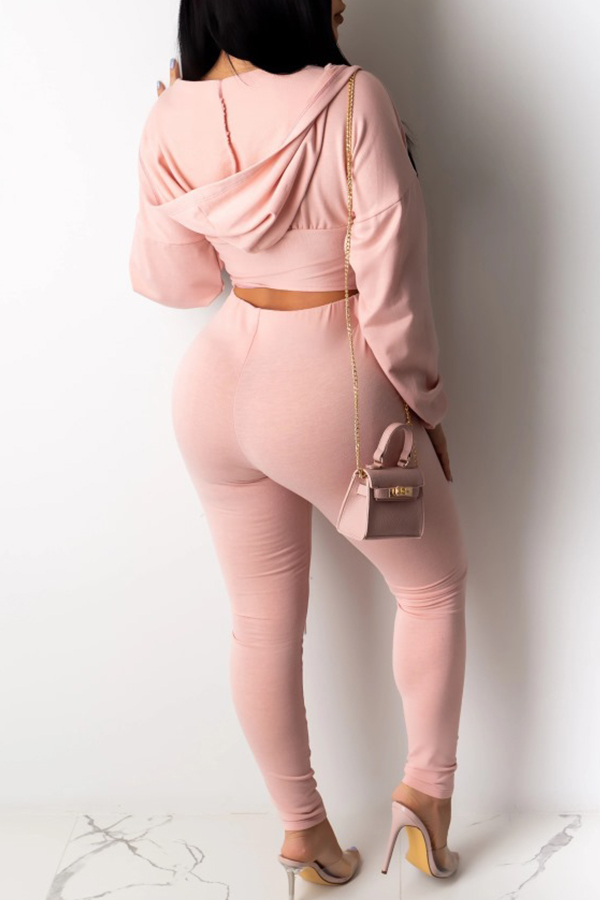 Lovely Trendy Zipper Design Pink Two-piece Pants Set