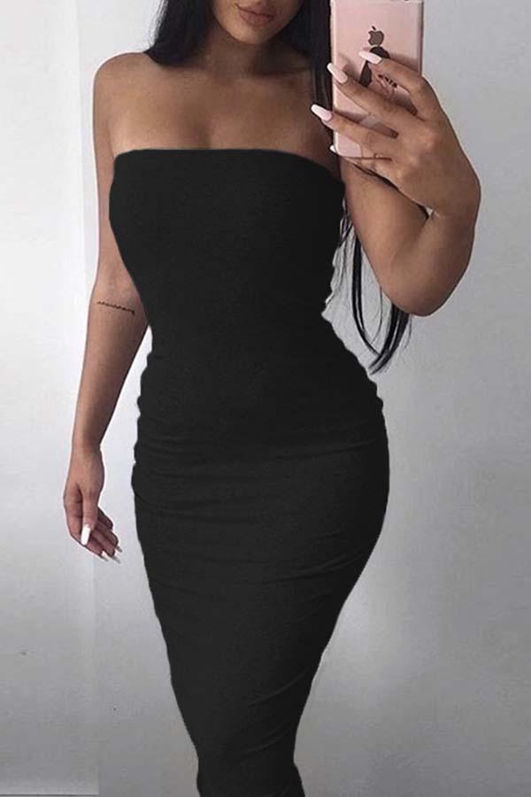 Lovely Trendy Dew Shoulder Black Ankle Length Dress