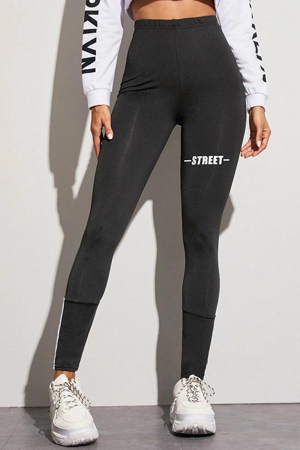 Lovely Sportswear Letter Print Black Leggings