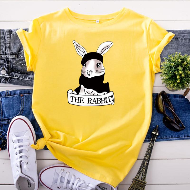 Lovely Leisure O Neck Rabbit Print Yellow Plus Size T-shirt